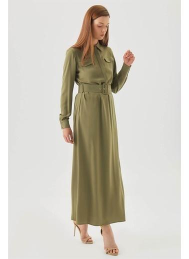 Vivencia Cepli Kuşgözü Kemerli Düğmeli Elbise  Haki